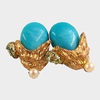 1950's HATTIE CARNEGIE Gilt Earrings ~w/ Glass Turquoise ~Rhinestones 'n Pearls