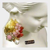 c.1950's EUGENE Corsages ~Pink Art Glass ~Floral Rose Montee