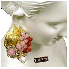 c.1950's EUGENE Vintage Earrings ~Pink Art Glass ~Floral Rose Montee