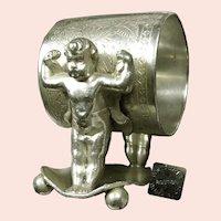 c.1875 JAMES W TUFTS 1544~ Baby Hercules~ Cupid Napkin Ring