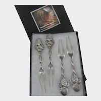 Antique Tiffany ~Set of 4 Sterling ~Strawberry/Vine & Fruit Forks