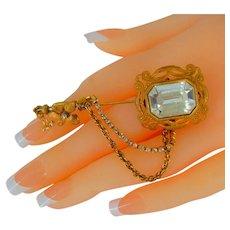 MIRIAM HASKELL ~Gilt Filigree Stick Pin ~Huge Crystal
