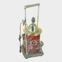 JAMES W. TUFT-3397 ~Silver Caster w/Greenway Children ~Rubina Enameled Glass Jar