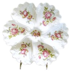 c.1900 LIMOGES ~Deep Well Oyster Plate-Center Well ~Dresden Style Bouquets