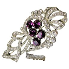 Huge 1940's STARET ~Floral Form Pin ~Purple 'n Clear Rhinestones