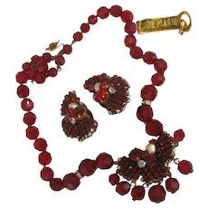 Dark Red De MARIO Set ~Faceted Glass & Rose Montee ~Gilt Filigree