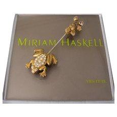 MIRIAM HASKELL Frog ~Stickpin ~Rhinestones & Gilt