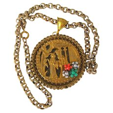 Miriam HASKELL CHINOISERIE ~Lovers Necklace/Pendant (3) ~Elaborate Gilt 'n Glass