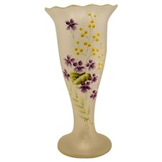 Antique French Bohemian Art Nouveau Enamelled Glass Tall Vase