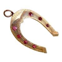 Antique Horseshoe 9k Gold Ruby Paste Fob Pendant
