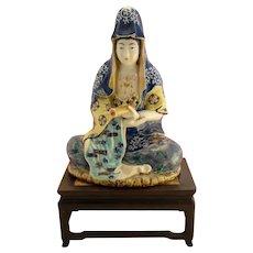 Large CHINESE Antique FAMILLE ROSE Porcelain Buddha Figurine