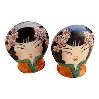 Pair of Vintage Geisha Card Holders Japan