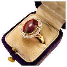 Antique 14k Gold Garnet Diamond Ring