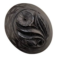 Victorian Whitby Jet Gold Brooch With Floral Motif