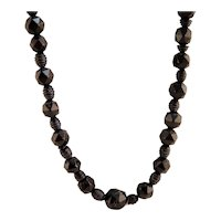Antique Victorian Whitby Jet Beads Facetted Necklace