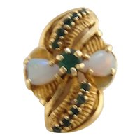 Vintage 14k Gold Opal and Emerald Dinner Ring