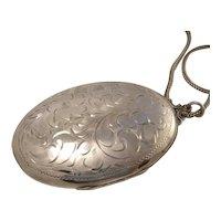Extra Large Vintage Floral Engraved Oval Sterling Silver Locket