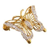 10k Gold Diamond Butterfly Brooch