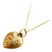 Dainty Vintage 10k Gold Engraved Heart Pendant