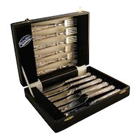 Vintage Sterling Silver English Fork and Knife 12pc Fish Set w Case