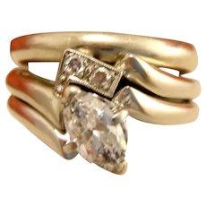Vintage 18K White Gold Engagement Ring .50 ct Marquise Diamond Matching Band