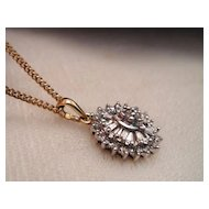 Estate Multi Diamond 10K Gold Cluster Pendant