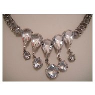 Gorgeous Sparkling Cut Crystal Open Back Drop Necklace
