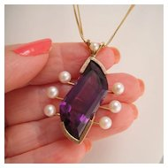 Vintage 14k Gold Custom Designed Amethyst Cultured Pearl Pendant