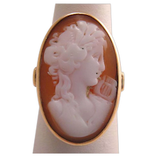 Antique French Hard Stone Cameo 14k Gold Ring