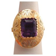 Antique 14k Gold Amethyst Engraved Ring