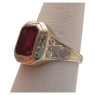 Men's Vintage Ring 10k White Gold Spinel c.1920-30