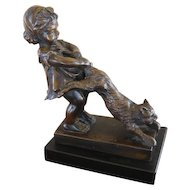 Juan Clara Bronze Sculpture Figure Girl with Cat