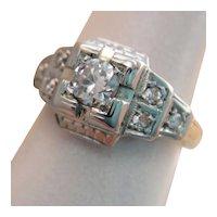 Art Deco 14K Gold Platinum Old European Diamond Ring