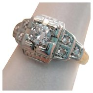 Art Deco 14K Gold Platinum Old European Diamond Ring