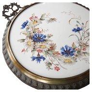 Large Antique Victorian Porcelain Tile Table Center Piece Trivet