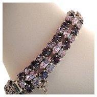 Sherman Purple Pale Blue Rhinestone Bracelet
