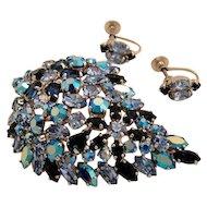 Vintage Sherman Rhinestone 3 Shades of Blue Large Leaf Brooch and Earrings