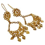 Vintage 18k Gold Chandelier Drop Dangle Earrings