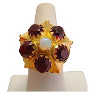 Antique 14k Yellow Gold Rhodolite Garnet Opal Ring
