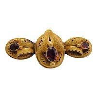 Late Georgian Early Victorian Rhodolite Garnet 18k Gold Brooch