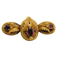 Late Georgian Early Victorian Rhodolite Garnet 18k Gold Brooch