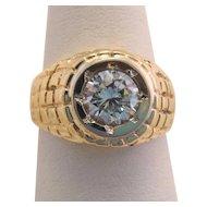 Estate Heavy 10k Gold Men's One Carat Zircon Ring
