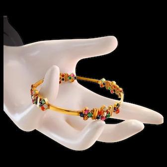Vintage 22k 22kt Gem Gold Bangle Bracelet
