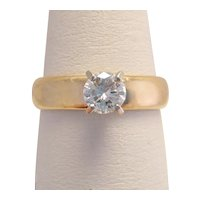 Vintage Gold Custom .63 Carat Solitaire Diamond Ring