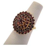 Antique Rose Cut Bohemian Garnet Ring 14k Gold Wash 900 Silver