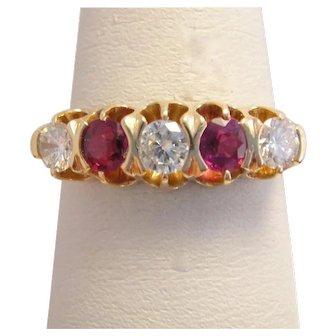 Edwardian 14k Gold Ruby Diamond Ring Band
