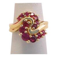 Vintage Ruby Heavy 14k Gold Swirl Ring