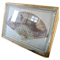 Antique Georgian Shadowbox Framed French Hand Painted Fan Carved Handle