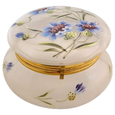 Antique Frosted Bachelor Button Enameled Dresser Patch Box Powder Jar