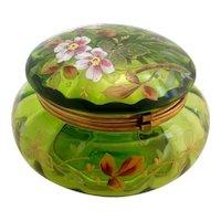 Large Antique Green Rose Enameled Dresser Patch Box Powder Jar